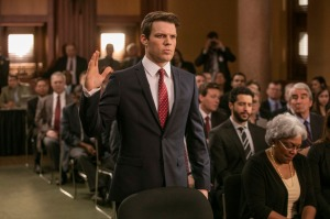 """This image released by Europa shows Jake Lacy in a scene from, """"Miss Sloane."""" (Kerry Hayes/Europa via AP)"""